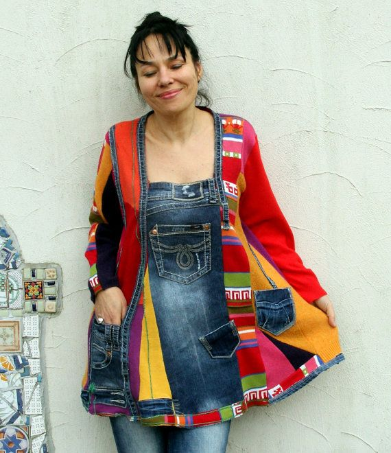 L-XL+Colorful+sweater's++denim+scraps+patchwork+by+jamfashion