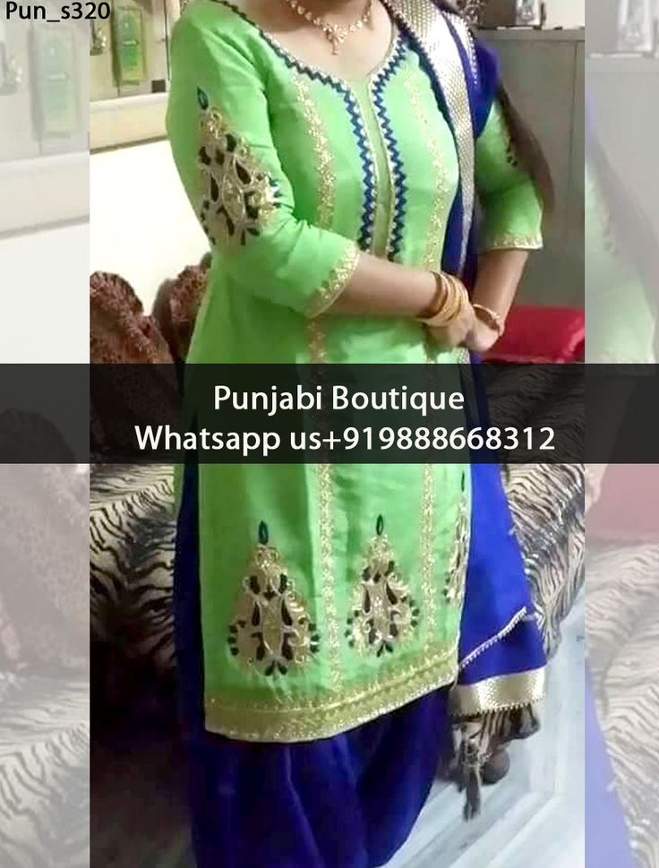 Beautiful Green And Royal Blue Punjabi Suit Product Code: Pun_s320 To order this dress , please call or WhatsApp us at +919888668312 We can design this Punjabi Suit in any color combination or on any fabric (price may vary according to fabric)