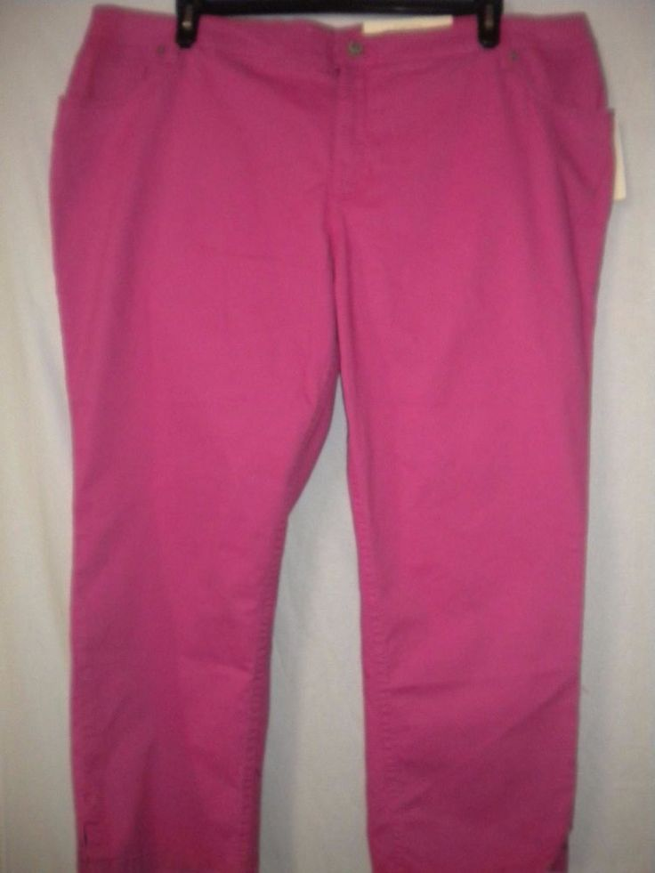"Sonoma Plus Size 20W X 25"" Inseam Fuchsia Modern Fit Hits At Ankle Women Pants #Sonoma #CaprisCropped"