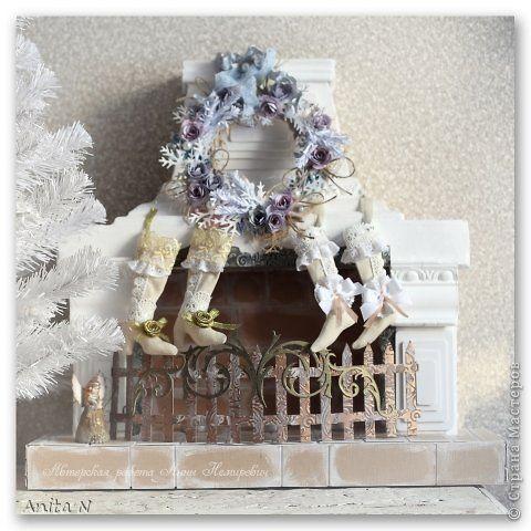 Интерьер Поделка изделие Новый год Ассамбляж Моделирование конструирование Новогодний декор для дома - камин для свечей фото 13