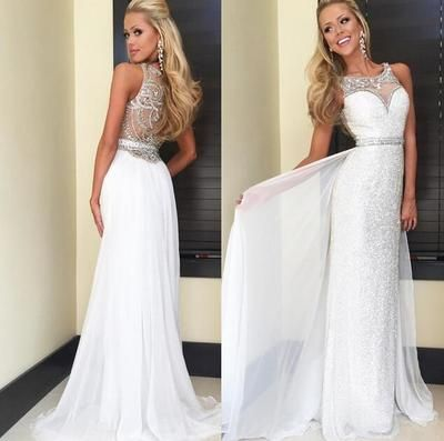 New Design Sexy Long Prom Dress,White Prom Dress
