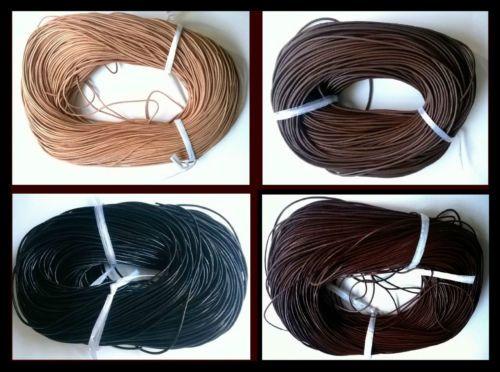 Real-Round-Leather-Cord-100-AUTENTICO-1-2-3-4-5mm-Nero-Marrone-Naturale-Tanga