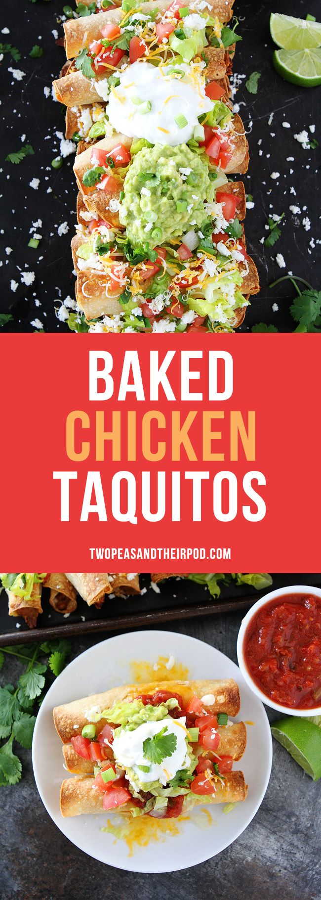 Baked Chicken Taquitos are easy to make at home! They are baked and not fried, but still super crispy! Top with all of your favorite toppings and serve at parties, game day, or for dinner!