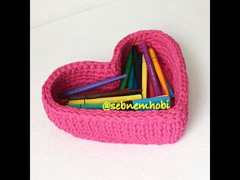 Kalp sepet yapımı - Crochet heart basket - YouTube