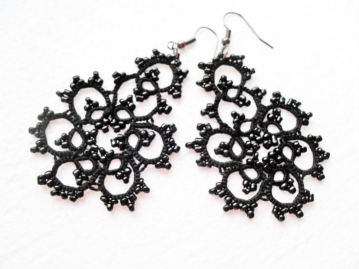 Lace tatting earrings, Black lace earrings, Lace tatted jewelry, Gothique lace earrings, Tatted earrings with glass beads by carmentatting on Etsy
