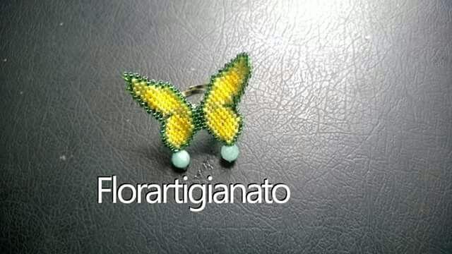 Anello farfalla brick stitch