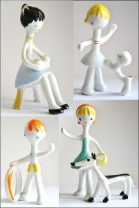 porcelanowe figurki - lalki z bajek sygnowane Węgry pikasy lata 60-te