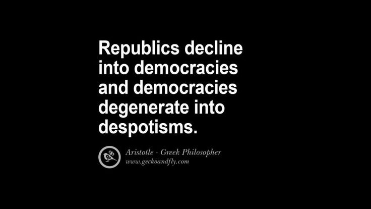 Republics decline into democracies and democracies degenerate into despotism. Famous Aristotle Quotes on Ethics, Love, Life, Politics and Education