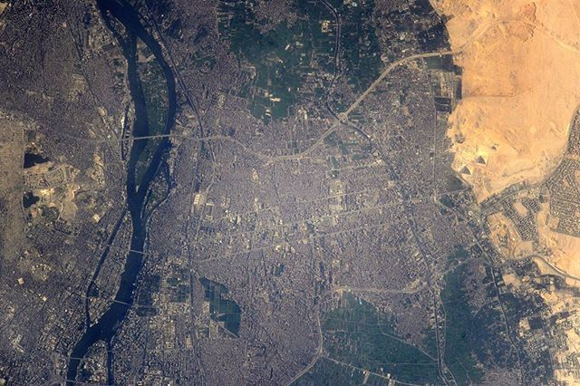 Cairo & the Giza pyramids from space by the Russian astronaut Sergei Ryazanskiy