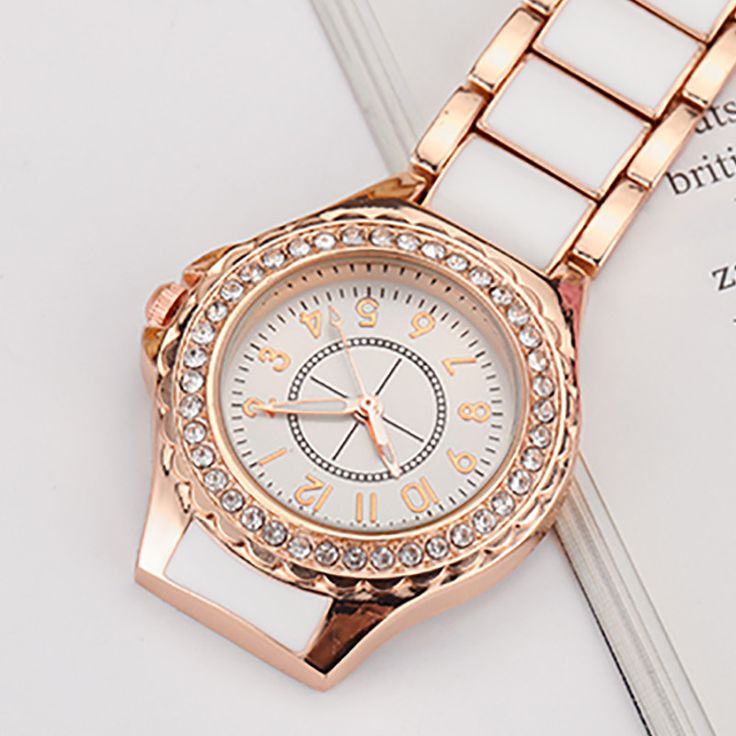 Luxury Brief Rose Gold White Rhinestone Stainless Steel Quartz Nurse Pocket Watch Fob Chain Women Lady Gifts Reloj de enfermera