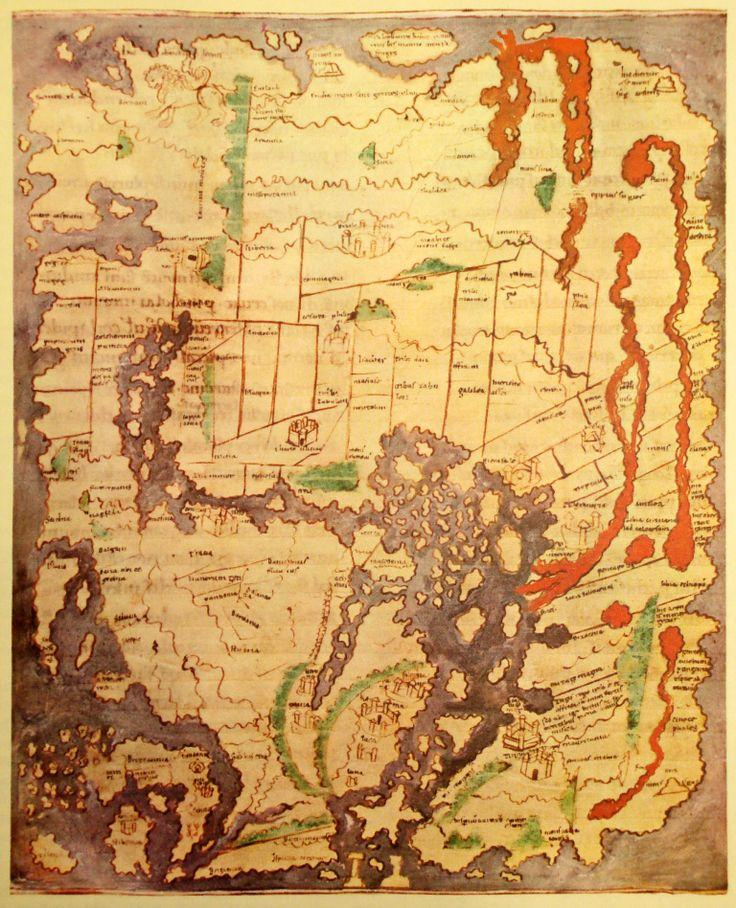"World Map 11th Century  Description: ""Cotton"" of Anglo-Saxon world map (c. 1040)"
