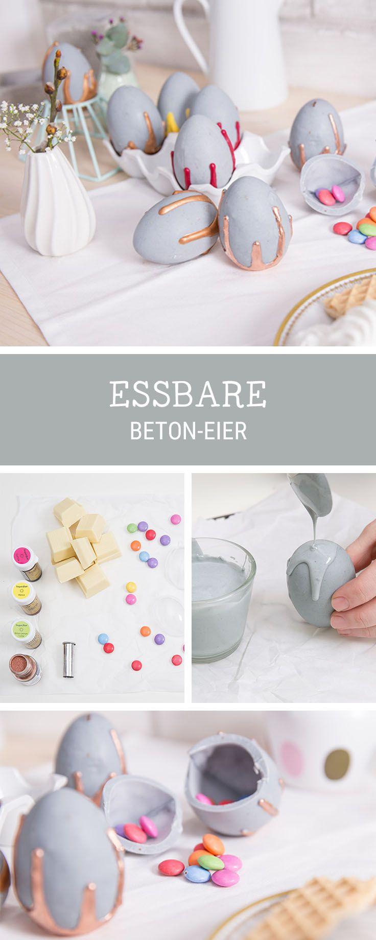 Rezeptidee für Ostern: Gefüllte Schoko-Ostereier in Beton-Optik / funny Easte recipe: filled chocolate eggs via DaWanda.com