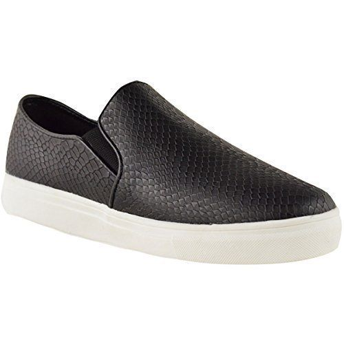 Damen Skater Turnschuhe Flach Schlüpfer Schule Fitnesstudio Schuhe Größe - Schwarzes Schlangen Kunstleder, 39, Synthetik - http://on-line-kaufen.de/fashion-thirsty/39-eu-damen-skater-turnschuhe-flache-slipper-gr-9