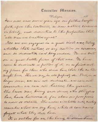 Abraham Lincoln, Draft of the Gettysburg Address: Nicolay Copy, November 1863