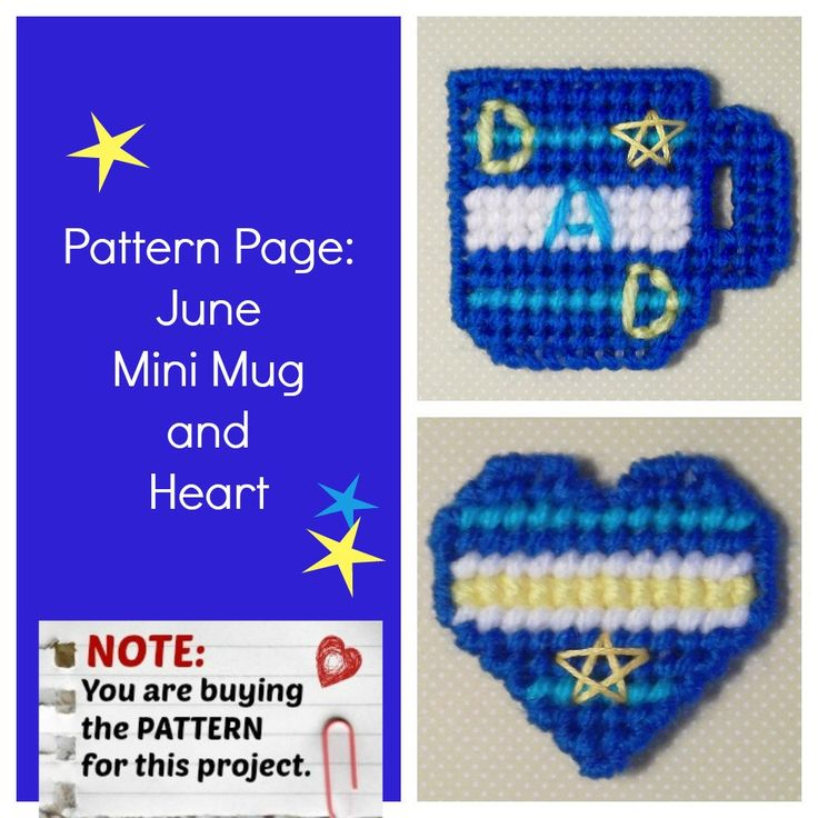 "Plastic Canvas Pattern Page: ""June Mini Mug and Heart"" (2 designs, graphs and photos, no written instructions) ***PATTERN ONLY!*** -- ""Ready, Set, Sew!"" by Evie"