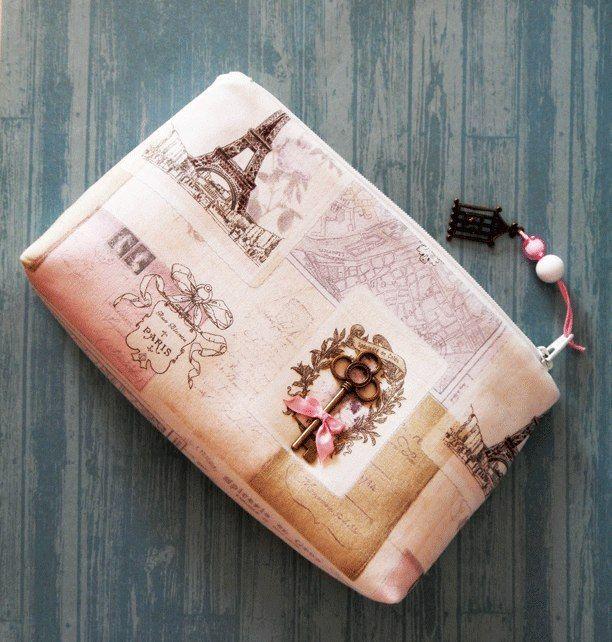 """Купить Косметичка """"Ключ от Парижа"""" - бежевый, рисунок, Париж, парижский стиль, косметичка,  love the key idea, cute bag"""