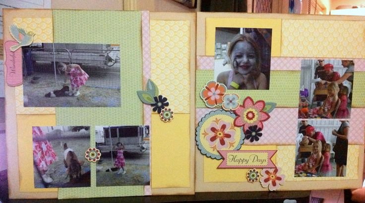 """This double layout is from the Magic: Showtime How to Book 12"""" x 12"""" Love these People.  This double page is of my youngest daughter Emily.  Using the Chantilly Paper Range with Elements."""