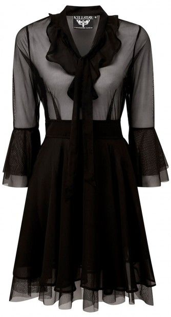 The Decay Nu-Mourning Dress is a gothic hybrid that leaves you craving more. A combination of sheer luxe mesh and flowing tulle creates a dark look.