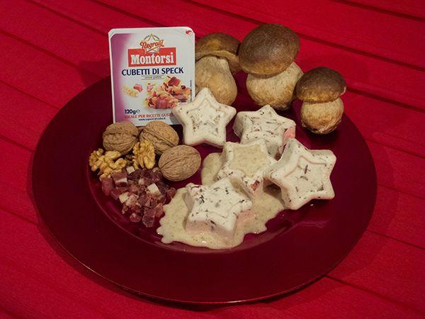 Sformatini di pollo, speck e porcini al profumo di tartufo con salsa di noci
