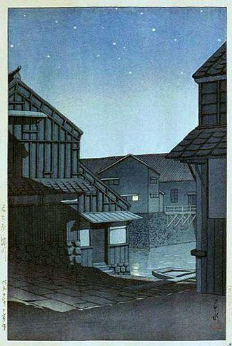 Kawase Hasui, Starlight at Horikawa, Nagoya, 1935 (published by Watanabe Shozaburo)