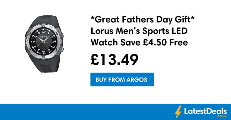 *Great Fathers Day Gift* Lorus Men's Sports LED Watch Save £4.50 Free C+C, £13.49 at Argos