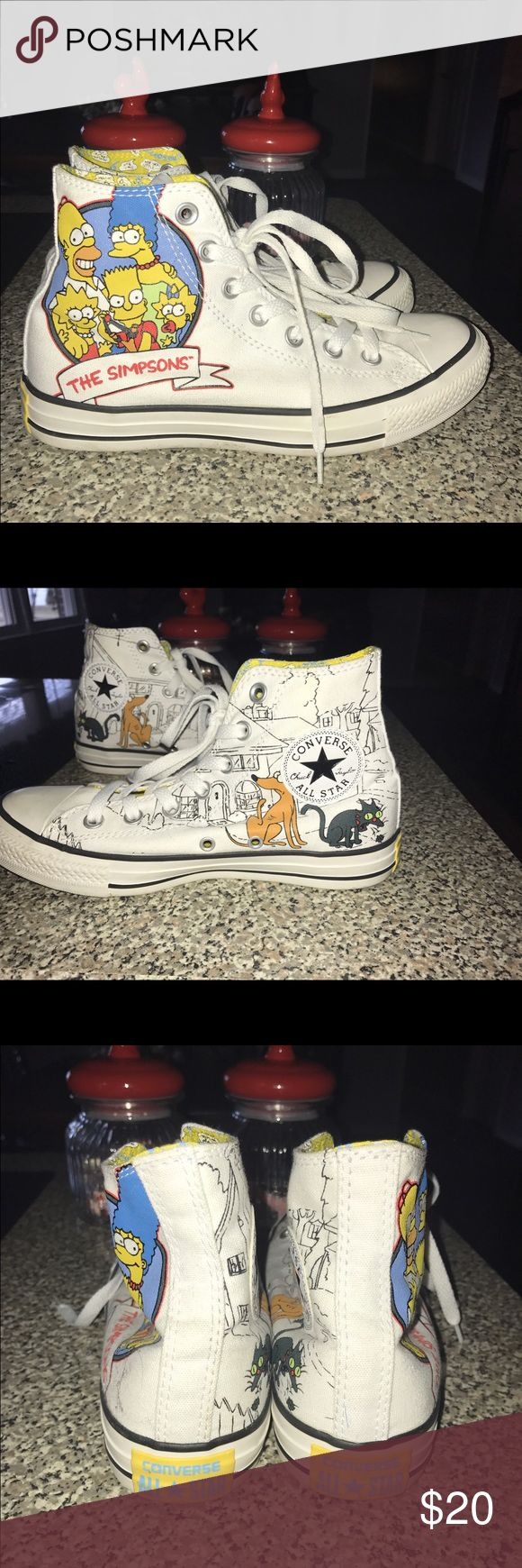The Simpsons converse Special 25th Anniversary Simpsons converse! Only worn once or twice and barely has any scuff marks, excellent condition! Make me a offer size: 5.5 in men's or 7.5 in women's Converse Shoes Sneakers