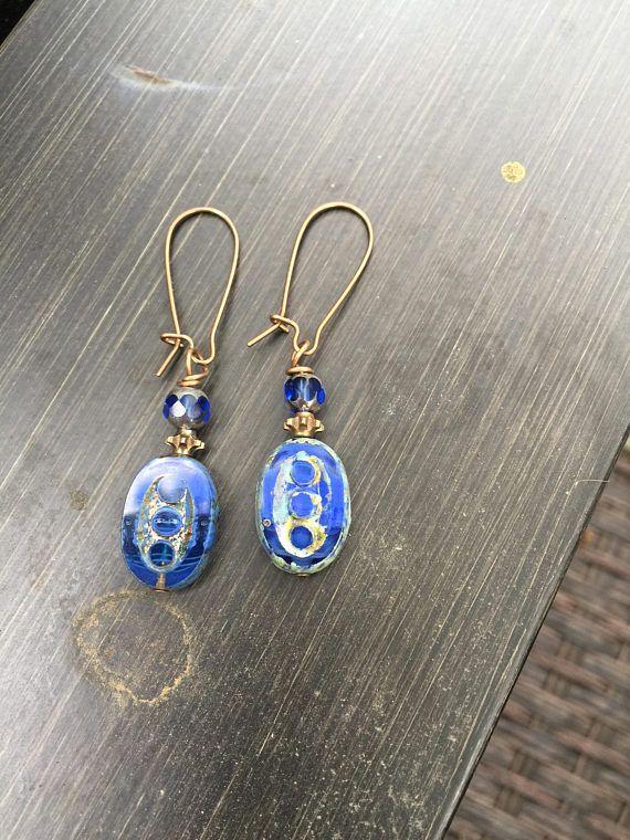 Rustic Blue Oval Czech Glass Dangle Earrings   Cruise Wear  Everyday earrings    Boho Jewelry   Urban Boho Earrings