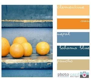 Bahama blue, Nepal, clementine, sun, poncho palette - maybe a color palette for the kitchen or a bathroom?