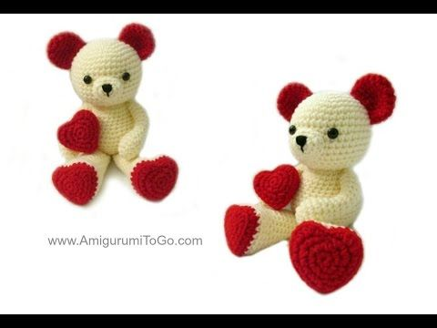 Valentine Teddy.. 2 part video.. also written pattern.. also bunny ears option.. ***** Important Links **** part two: How to sew the bear together here http://youtu.be/018HAwQRyM8 Written Pattern http://www.amigurumitogo.com/2015/02/Valen...