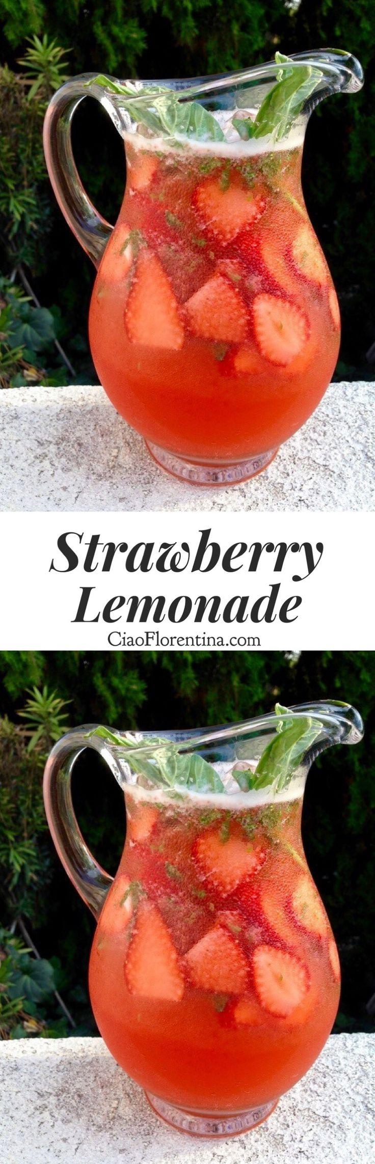 Strawberry Lemonade Recipe with Basil and Honey |CiaoFlorentina.com @CiaoFlorentina