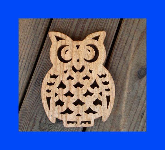 Handmade Oak Owl Trivet from Reclaimed Oak by zzbob on Etsy, $28.00