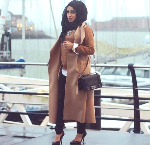 tan vest and sweater chic hijab