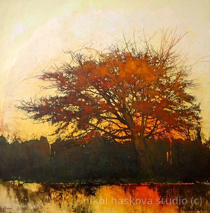 painting of a tree at sundown