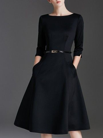 Clothes Fall Dresses – Black Plain Belted Waist Swing Midi Dress