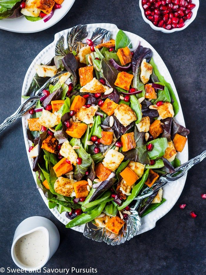 Roasted Sweet Potato Salad with Citrus Tahini Dressing #Salad #Holidays #Christmas #Thanksgiving