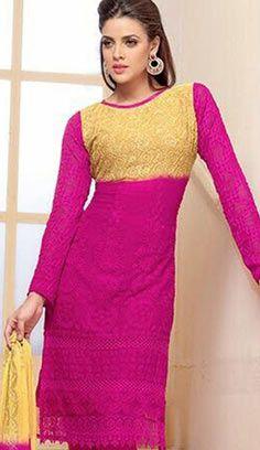 Fashionable Indian Pink Chiffon Pakistani Suit