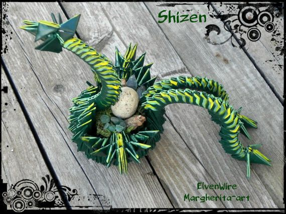 Drago Origami carta verde fatto a mano fantasy due code