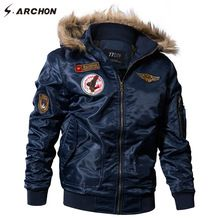 S.ARCHON US Air Force Airborne Tactical Bomber Jackets Men Hooded Fur Collar Military Pilot Jacket Winter Warm Army Flight Coats //Price: $US $39.22 & FREE Shipping //   #gloves #decor #dresses #skirts #pants #tshirts