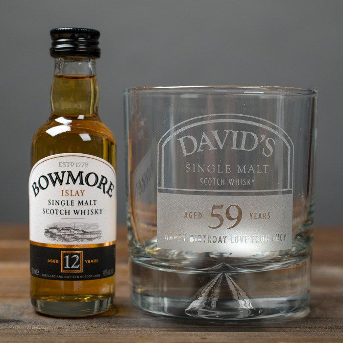 Personalised Birthday Whisky Tumbler and Bowmore Miniature | Engraved Gifts by Getting Personal