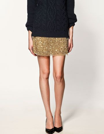 sequin skirt + chunky knit: Fashion, Sequin Skirt, Style, Skirts, Outfit