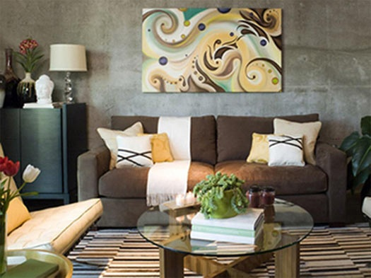 Grey and brown living room loving everything here for Cuadros para comedor segun feng shui