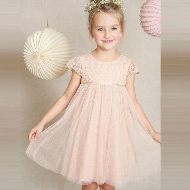 2017 Blush Roze Bloem Meisje Jurken Voor Bruiloften Tulle Lace Knielengte Lente Pretty Little Kids Gown Eerste Communie Jurk Gi