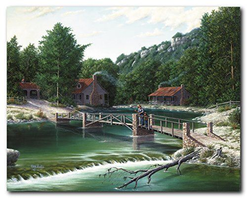 Make an impression on your guests with this beautiful it depicts the picture of a Gone Fishing Rustic River Bridge Landscape Wall décor Pictures Art Print Poster. This nature poster will be a stunning and elegant addition to any space in your home. It will be a beautiful gift for someone who is a nature lover or may be inspired by the tranquility of nature.