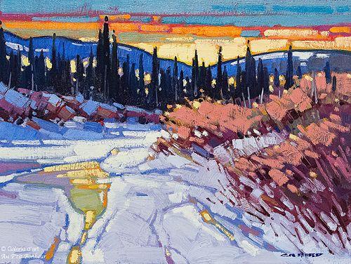 Cameron Bird, 'Winter Along the Pelly, Yukon', 12'' x 16'' | Galerie d'art - Au P'tit Bonheur - Art Gallery
