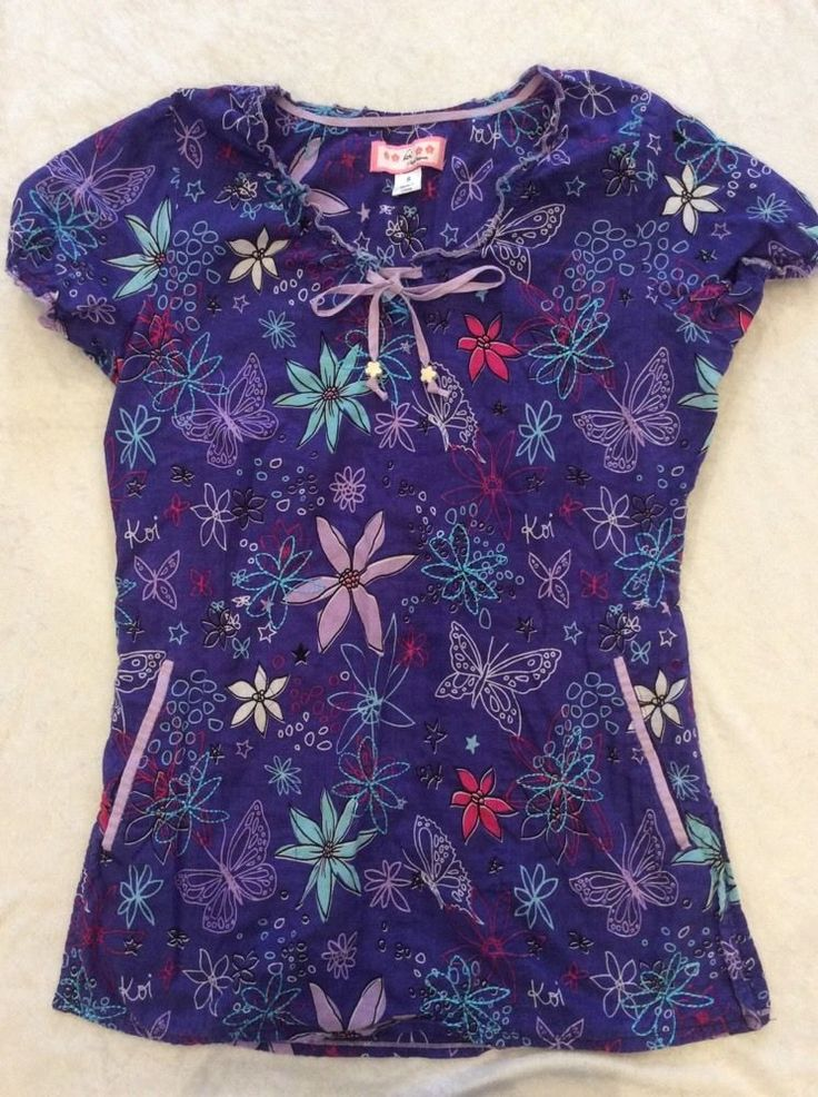 Koi scrub top small womens purple butterfly summer for Blue ribbon koi