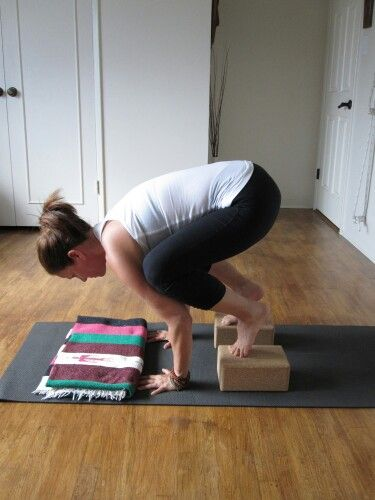 Bakasana (Crow) #yoga pose with the help of yoga blocks