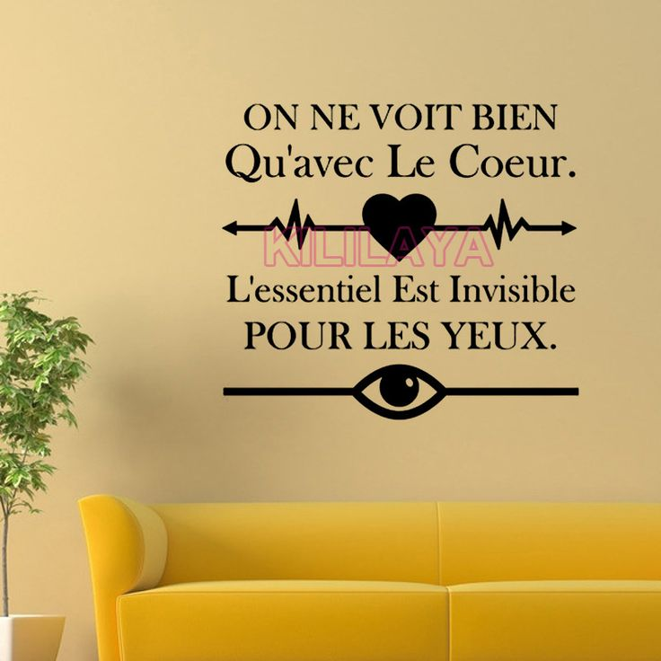 Aliexpress.com : Buy Sticker French On ne voit bien qu'avec le coeur Vinyl Wall Stickers for Living Room Wall Decals Art Home Decor House Decoration from Reliable sticker form suppliers on Kililaya