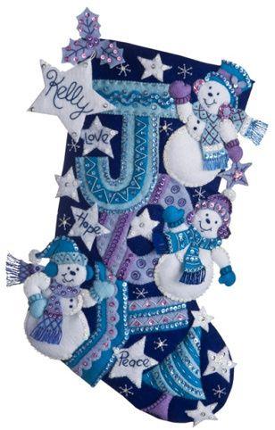 Joy Snowmen Christmas Stocking - Felt Applique Kit