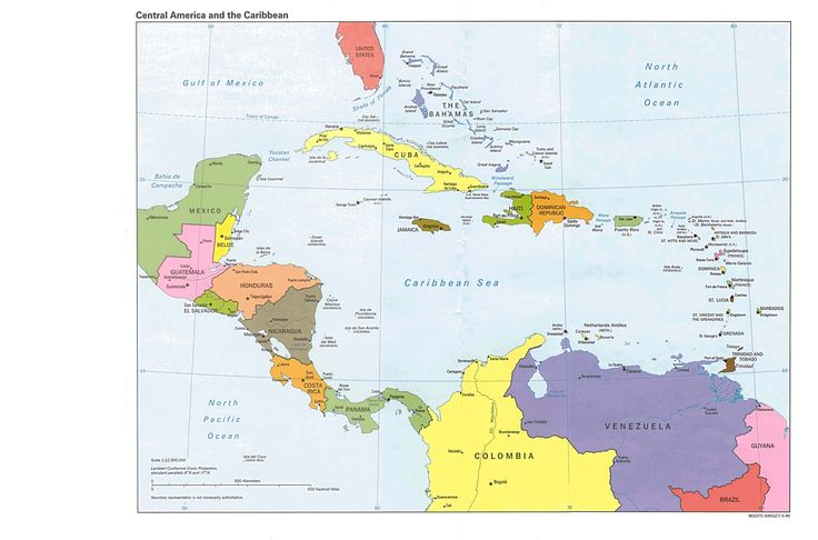 Central America and the Caribbean Political Map 1995