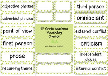 Chevron design academic vocabulary cards for 6th grade RLA. This product is editable so you can add your own the following list: adjective phrase adverbial phrase almanac appositive author's viewpoint dependent clause independent clause internal conflict external conflict criticism dialect drawing conclusions generalization literal vs.